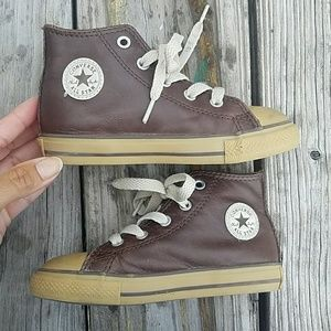 Kids Leather Brown Hi-Top Converse